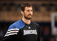 Mar. 12, 2012; Phoenix, AZ, USA;  Minnesota Timberwolves forward Kevin Love (42) reacts while playing against the Phoenix Suns at the US Airways Center. The Timberwolves defeated the Suns 127-124.  Mandatory Credit: Jennifer Stewart-US PRESSWIRE.