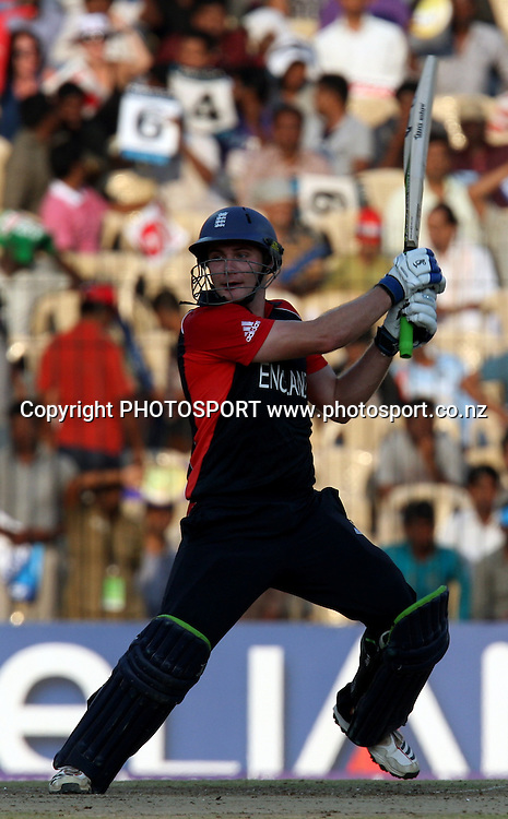 England batsman  Luke Wright hit a shot against West Indies during the ICC Cricket World Cup - 36th Match, Group B England vs West Indies Played at MA Chidambaram Stadium, Chepauk, Chennai (neutral venue) 17 March 2011 - day/night (50-over match)
