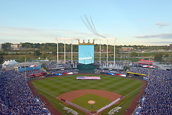 Oct 5, 2014; Kansas City, MO, USA; A general view of the stadium as a military flyover is conducted before game three of the 2014 ALDS baseball playoff game between the Kansas City Royals and Los Angeles Angels at Kauffman Stadium. Mandatory Credit: Denny Medley-USA TODAY Sports