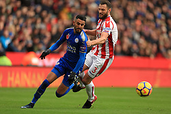 Riyad Mahrez of Leicester City turns Erik Pieters of Stoke City on his way to scoring - Mandatory by-line: Paul Roberts/JMP - 04/11/2017 - FOOTBALL - Bet365 Stadium - Stoke-on-Trent, England - Stoke City v Leicester City - Premier League