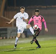 Scotland's Dominic Thomas and Estonia's Vlasiy Sinyavskiy  - Scotland under 21s v Estonia international challenge match at St Mirren Park, St Mirren. Pic David Young<br />  <br /> - © David Young - www.davidyoungphoto.co.uk - email: davidyoungphoto@gmail.com