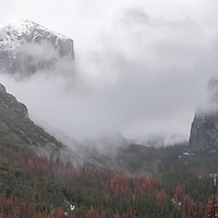 Snow and fog on Yosemite Valley. Yosemite National Park, CA