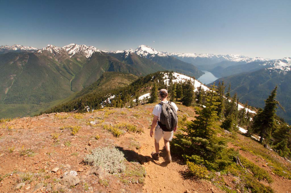 Joe Hikes Down from Desolation Peak, North Cascades National Park, Washington, US