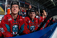 KELOWNA, CANADA - MARCH 16:  Conner Bruggen-Cate #20 and Ethan Ernst #19 of the Kelowna Rockets sit on the bench against the Vancouver Giants on March 16, 2019 at Prospera Place in Kelowna, British Columbia, Canada.  (Photo by Marissa Baecker/Shoot the Breeze)