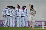 hampshire celebrate the wicket of Stephen Eskinazi of Middlesex  during the Specsavers County Champ Div 1 match between Hampshire County Cricket Club and Middlesex County Cricket Club at the Ageas Bowl, Southampton, United Kingdom on 16 April 2017. Photo by David Vokes.