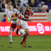 Dax McCarty, New York Red Bulls (left) and Luis Silva, Toronto FC challenge during the New York Red Bulls V Toronto FC  Major League Soccer regular season match at Red Bull Arena, Harrison. New Jersey. USA. 29th September 2012. Photo Tim Clayton