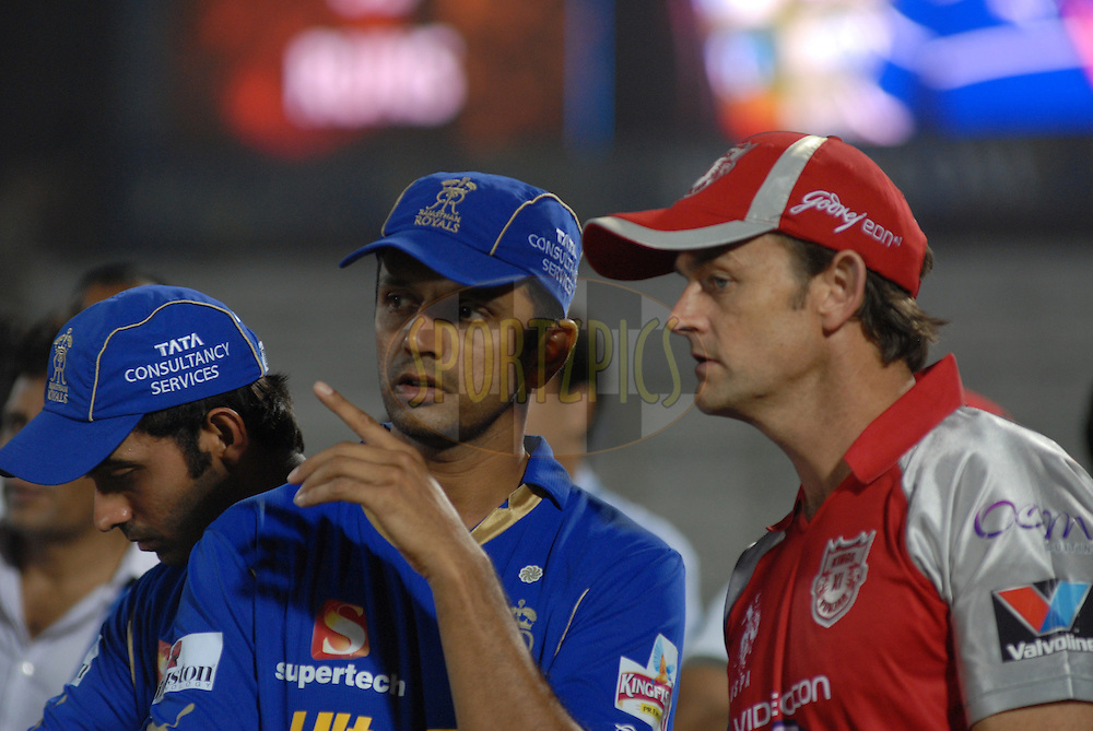 Kings X1 Punjab captain with Adam Gilchrist Rajasthan Royals captain Rahul Dravid  after match 4 of the the Indian Premier League ( IPL) 2012  between The Rajasthan Royals and the Kings X1 Punjab held at the Sawai Mansingh Stadium in Jaipur on the 6th April 2012..Photo by Arjun Pawar/IPL/SPORTZPICS