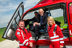 Pictured:  Paramedics Craig McDonald and Wendy Jubb met Mr Swinney at the aircraft piloted by Ric Stell<br /> Deputy First Minister and local MSP  John Swinney visited Perth Airport today to visit Scotland's Charity Air Ambulance. The Perthshire North MSP will meet volunteers and present certificates to mark the start of National Volunteers' Week.<br /> <br /> <br /> Ger Harley | EEm 1 June 2018