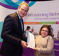 Sean Kyne TD Minister of State for Community Affairs, Natural Resources and Digital Development, presenting certificate to  Bromwyn Conneely with  QQI level2 in Computer skills, Health Related Exercise and Horticulture. Photo:Andrew Downes, xposure .
