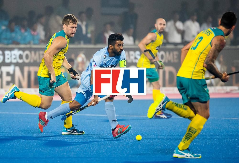 BHUBANESWAR - The Odisha Men's Hockey World League Final . Match ID 02. Australia v India. Manpreet Singh (Ind) with Aaron Kleinschmidt (Aus) WORLDSPORTPICS COPYRIGHT  KOEN SUYK