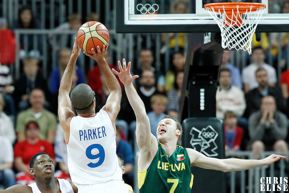 02 August 2012: France Tony Parker takes a jumpshot over Lithuania Martynas Pocius during 82-74 Team France victory over Team Lithuania, during the men's basketball preliminary, at the Basketball Arena, in London, Great Britain.
