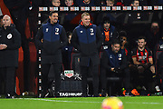 AFC Bournemouth manager Eddie Howe is all smiles as he watches his team thrash Chelsea 4-0 during the Premier League match between Bournemouth and Chelsea at the Vitality Stadium, Bournemouth, England on 30 January 2019.