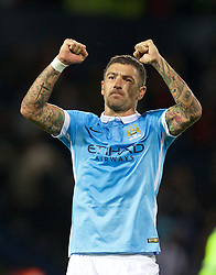 WEST BROMWICH, ENGLAND - Monday, August 10, 2015: Manchester City's Aleksandar Kolarov applauds the supporters after his side's 3-0 victory over West Bromwich Albion during the Premier League match at the Hawthorns. (Pic by David Rawcliffe/Propaganda)
