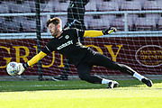Forest Green Rovers goalkeeper James Montgomery warming up during the EFL Sky Bet League 2 match between Northampton Town and Forest Green Rovers at Sixfields Stadium, Northampton, England on 13 October 2018.