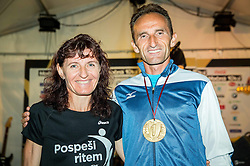Helena Javornik and Roman Kejzar at Podium after 10th Nocna 10ka 2016, traditional run around Bled's lake, on July 09, 2016 in Bled,  Slovenia. Photo by Vid Ponikvar / Sportida