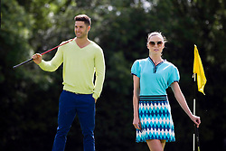 Repro Free: 24/06/2013 Models Sarah Morrissey and Craig Healy looked like pros today in The Burrow Golf Course, Stepaside, Dublin 18 as they showcase the best in designer golf apparel from labels-for-less retailer TK Maxx. Offering contemporary golf wear that combines style, tailoring and performance for golfers to sport on and off the course, TK Maxx Ireland has everything you need before teeing off all with up to 60% off the RRP. For more information, visit www.tkmaxx.ie or find them on Facebook. Picture Andres Poveda<br /> <br /> Sarah<br /> Dress ?19.99<br /> Shoes ?39.99<br /> Sunglasses ?34.99<br /> <br /> Craig<br /> Jumper ?16.99<br /> Trousers ?34.99<br /> Belt ?16.99<br /> Shoes ?54.99