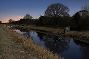 View of the South Drain in the western part of Shapwick Heath by moonlight. It was a full moon during the period when the moon was at its closest to Earth, so was brighter than normal.