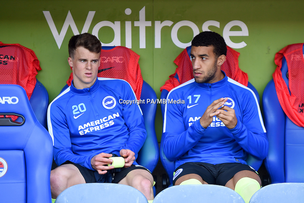 Brighton and Hove Albion's Solly March and Connor Goldson on the bench.
