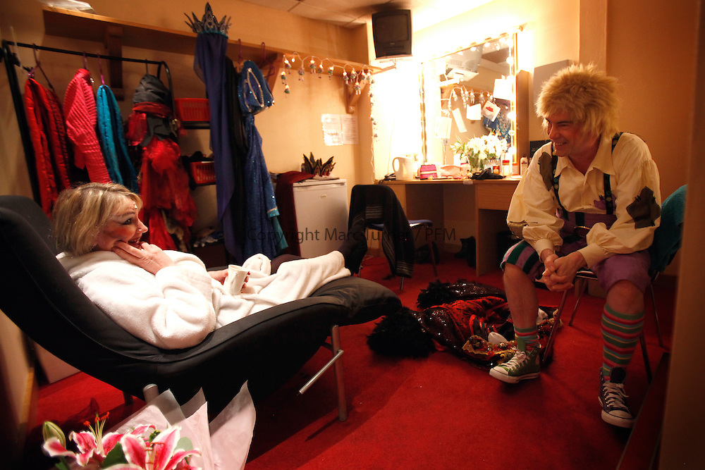 Snow White at The Kings - Photo Essay<br /> Backstage<br /> Barbara Rafferty and Gavin Mitchell during the interval