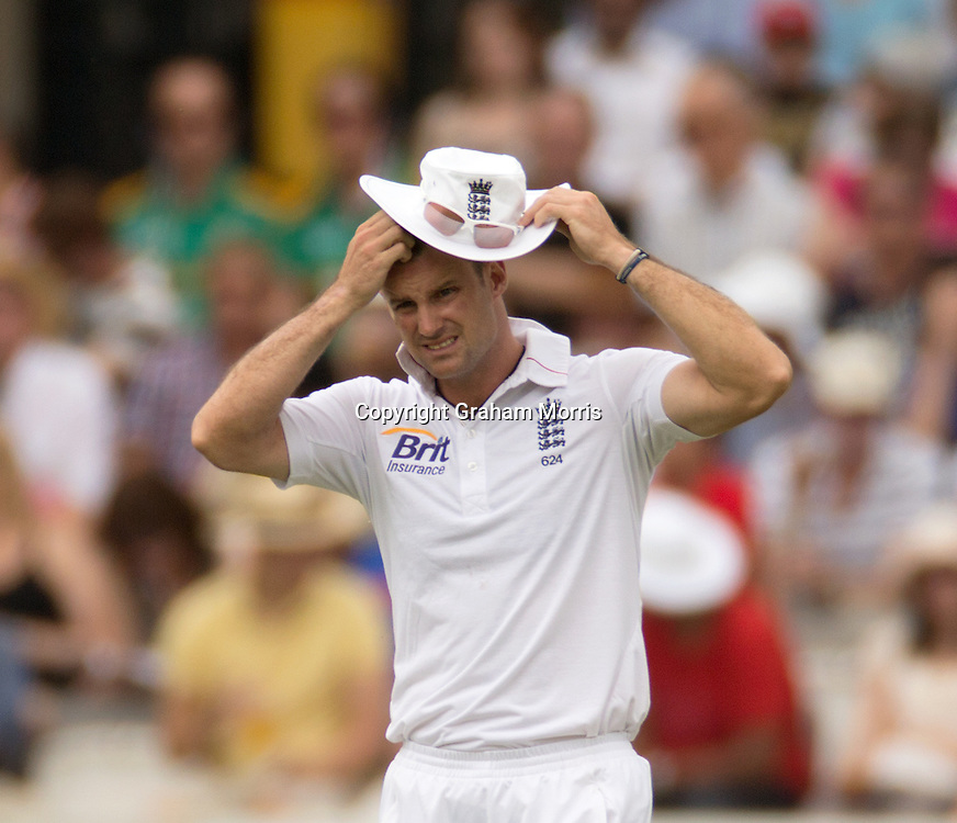 Captain Andrew Strauss scratches his head as the runs mount during the third and final Investec Test Match between England and South Africa at Lord's Cricket Ground, London. Photo: Graham Morris (Tel: +44(0)20 8969 4192 Email: sales@cricketpix.com) 19/08/12