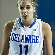01/11/12 Newark DE: Delaware Junior Forward #11 Elena Delle Donne and the U.S. Basketball Writers Association Women's National Player of the Week standing at the top of the key prior to taking her free throw during a Colonial Athletic Association Conference Basketball Game against The University of North Carolina Wilmington Seahawks Thursday, Jan. 12, 2012 at the Bob Carpenter Center in Newark Delaware.<br /> <br /> No. 18 Delaware (13-1, 4-0) defeated University of North Carolina Wilmington (8-7, 1-3) 69-37 continuing their best start in school history behind Elena Delle Donne 23 point scoring point effort.