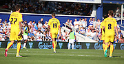 Jonson Clarke-Harris (Clarke Harris) (Rotherham striker) and the Rotherham team didnt celebrate scoring during the Sky Bet Championship match between Queens Park Rangers and Rotherham United at the Loftus Road Stadium, London, England on 22 August 2015. Photo by Matthew Redman.