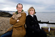 Actors Jenna Russell and Simon Paisley Day photographed on the beach at Whitstable, Kent for the Independent