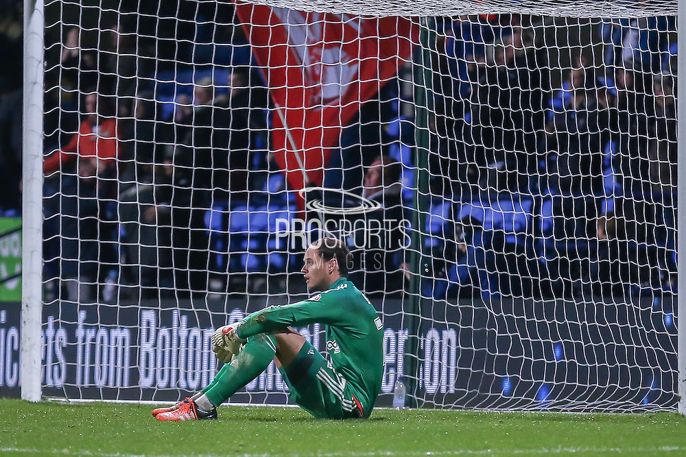 Brentford goalkeeper David Button after Bolton Wanderers midfielder Neil Danns goal during the Sky Bet Championship match between Bolton Wanderers and Brentford at the Macron Stadium, Bolton, England on 30 November 2015. Photo by Simon Davies.