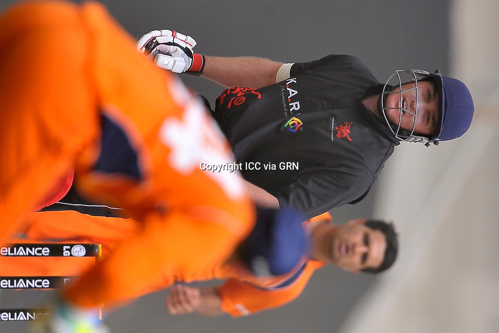 Hk's Captain James John Atkinson during the game against the Netherlands at the ICC World Twenty20 Qualifier UAE 2012. Pix ICC/Thusith Wijedoru