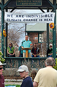 Bar Harbor, USA. 29 April, 2017. David Feldman, Physics and Mathematics Faculty at the College of the Atlantic, addresses the crowd at the Downeast Climate March.