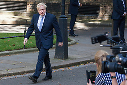 London, UK. 24 July, 2019. Boris Johnson arrives in Downing Street to make a formal address to the nation after having been appointed Prime Minister by the Queen at Buckingham Palace.