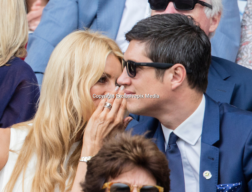 WIMBLEDON - UK - 28th June 2016: The Wimbledon Tennis Championships Day-2  at the All England Lawn Tennis Club, Wimbledon. S.E. London.<br /> <br /> Pic shows.Andy Murray  (GB) playing Liam Brody (GB) watched by Tess Daly and Vernon Kay<br /> &copy;Exclusivepix Media