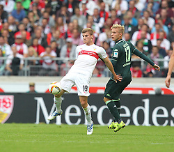 26.09.2015, Mercedes Benz Arena, Stuttgart, GER, 1. FBL, VfB Stuttgart vs Borussia Moenchengladbach, 7. Runde, im Bild Timo Werner ( VfB Stuttgart ) rechts Oscar Wendt ( Borussia Moenchengladbach ) // during the German Bundesliga 7th round match between VfB Stuttgart and Borussia Moenchengladbach at the Mercedes Benz Arena in Stuttgart, Germany on 2015/09/26. EXPA Pictures © 2015, PhotoCredit: EXPA/ Eibner-Pressefoto/ Langer<br /> <br /> *****ATTENTION - OUT of GER*****
