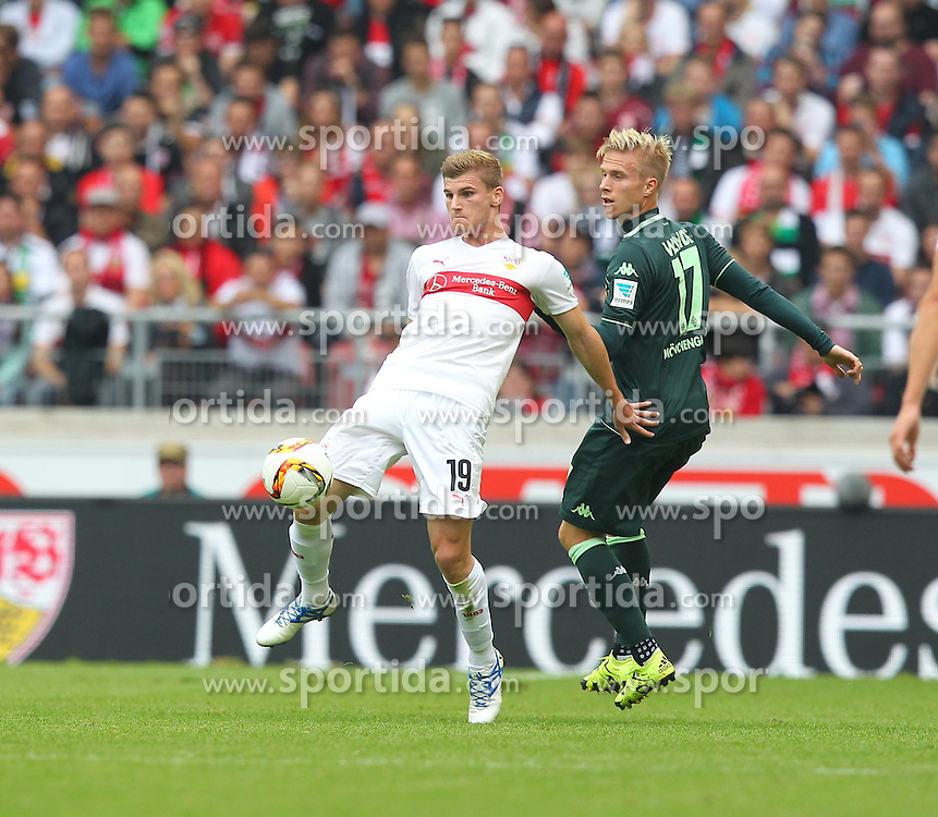 26.09.2015, Mercedes Benz Arena, Stuttgart, GER, 1. FBL, VfB Stuttgart vs Borussia Moenchengladbach, 7. Runde, im Bild Timo Werner ( VfB Stuttgart ) rechts Oscar Wendt ( Borussia Moenchengladbach ) // during the German Bundesliga 7th round match between VfB Stuttgart and Borussia Moenchengladbach at the Mercedes Benz Arena in Stuttgart, Germany on 2015/09/26. EXPA Pictures &copy; 2015, PhotoCredit: EXPA/ Eibner-Pressefoto/ Langer<br /> <br /> *****ATTENTION - OUT of GER*****