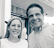 Massapequa, New York, USA. August 5, 2018. L-R, LIUBA GRECHEN SHIRLEY, Democrat running for Congress for New York 2nd District, and Governor ANDREW CUOMO, at campaign event after Cuomo endorsed Grechen Shirley.