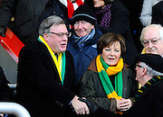 Ed Balls and Delia Smith before the Barclays Premier League match between Bournemouth and Norwich City at the Goldsands Stadium, Bournemouth, England on 16 January 2016. Photo by Graham Hunt.