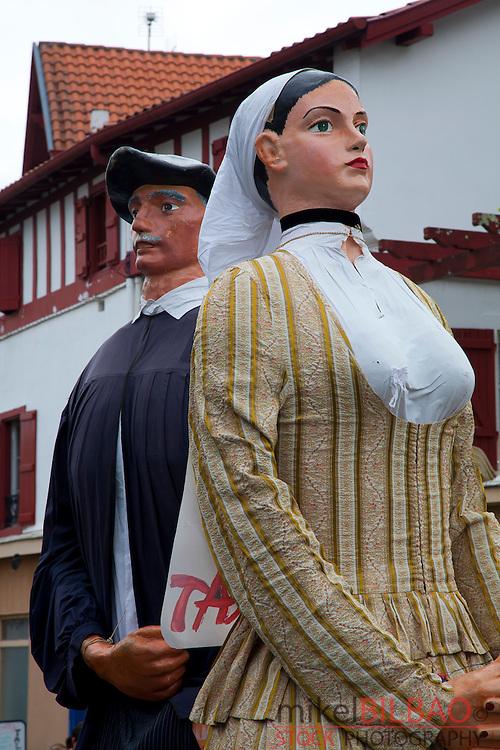 Traditional Giants dolls festival.<br /> Cambo-les-Bains, Labourd, Pyr&eacute;n&eacute;es-Atlantiques, France.