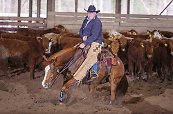 April 29 2017 - Minshall Farm Cutting 1, held at Minshall Farms, Hillsburgh Ontario. The event was put on by the Ontario Cutting Horse Association. Riding in the 25,000 Novice Horse Non-Pro Class is John Koop on Head Cat owned by the rider.