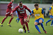 Croydon Athletic midfielder Josh Smith controls the ball during the Southern Counties East match between AFC Croydon Athletic and Hollands & Blair at the Mayfield Stadium, Croydon, United Kingdom on 10 October 2015. Photo by Mark Davies.
