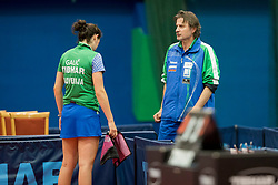 Alex Galic of Slovenia and Joze Volk during Qualification match between National teams of Slovenia and Ukraina for ITTF European Championship 2019, on May 22, 2018 in Otocec, Slovenia. Photo by Urban Urbanc / Sportida