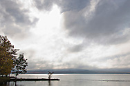 Lake Independence with fog in Big Bay Michigan on the Upper Peninsula.