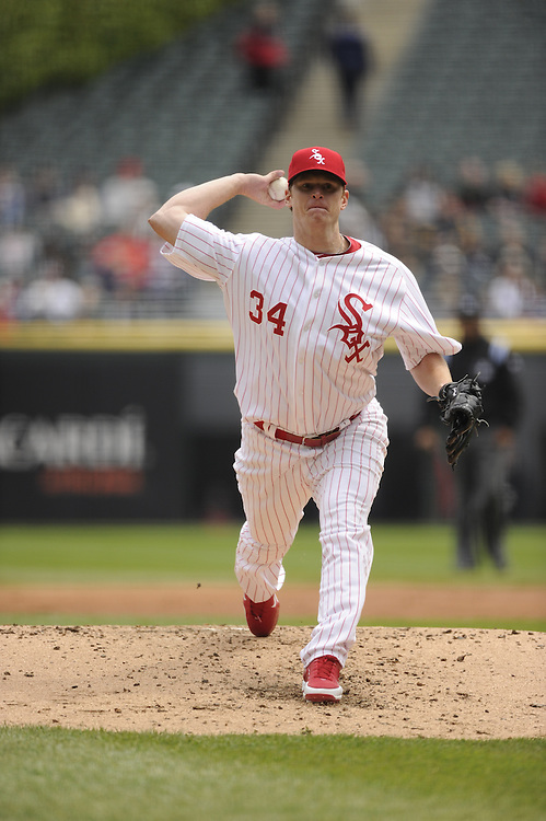 CHICAGO - APRIL 29:  Gavin Floyd #34 of the Chicago White Sox pitches against the Boston Red Sox on April 29, 2012 at U.S. Cellular Field in Chicago, Illinois.  The White Sox defeated the Red Sox 4-1.  (Photo by Ron Vesely)   Subject:  Gavin Floyd