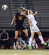 Gwynedd Mercy Academy's Bridget Casey #39 heads the ball away from Villa Joseph Erin Kueny in the first half Wednesday November 4, 2015 at Souderton High School in Franconia, Pennsylvania.  (Photo by William Thomas Cain)