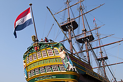 """The Amsterdam,"" a replica of a Dutch East Indies sailing ship, is one of the prime exhibits at the newly renovated Het Scheepvaartmuseum (The National Maritime Museum) in Amsterdam harbor."