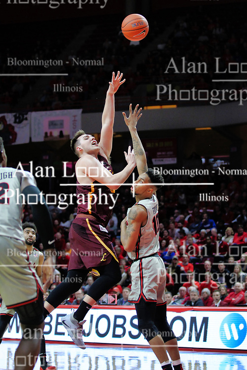 NORMAL, IL - February 02: Cameron Krutwig hooks a shot past Phil Fayne during a college basketball game between the ISU Redbirds and the University of Loyola Chicago Ramblers on February 02 2019 at Redbird Arena in Normal, IL. (Photo by Alan Look)