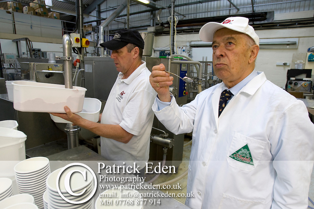 Eddie Minghella, Tasting ice cream, Minghella Ice Cream, Production Facility, Wooton, Isle of Wight, England, UK, Photographs of the Isle of Wight by photographer Patrick Eden photography photograph canvas canvases