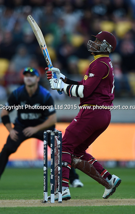 Marlon Samuels batting during the ICC Cricket World Cup quarter final match between New Zealand Black Caps and the West Indies, Wellington, New Zealand. Saturday 21March 2015. Copyright Photo: Andrew Cornaga / www.Photosport.co.nz
