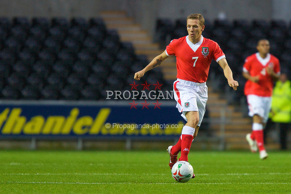 SWANSEA, WALES - TUESDAY, AUGUST 15th, 2006: Wales' Craig Bellamy in action against Bulgaria during the International Friendly match at the Liberty Stadium. (Pic by David Rawcliffe/Propaganda)
