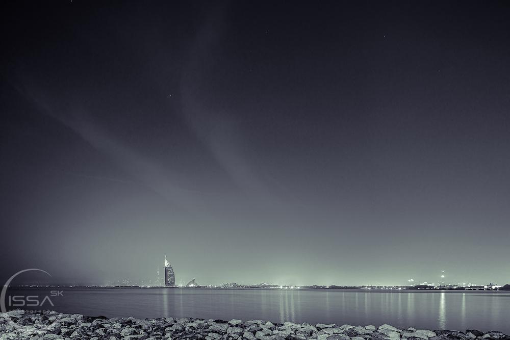 A night shot of the City of Dubai on a summer night