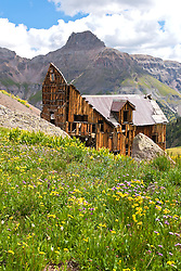 Ruins of an old mine's headworks sit above the tree line in Yankee Boy Basin, near Ouray, Colorado.